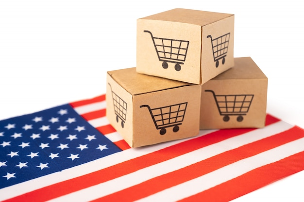 Caixa com logotipo do carrinho de compras e bandeira da américa eua.