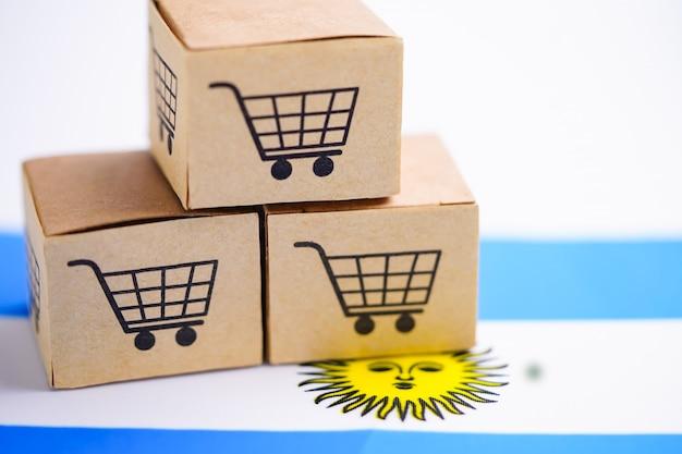 Caixa com logotipo do carrinho de compras e bandeira da argentina.