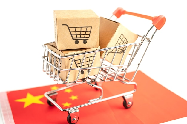Caixa com logotipo do carrinho de compras e bandeira da china import export shopping online