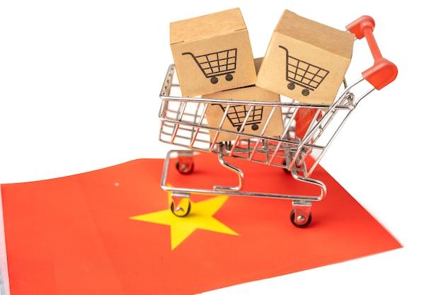 Caixa com logotipo do carrinho de compras e bandeira da china