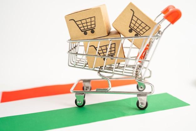 Caixa com logotipo do carrinho de compras e bandeira da hungria. import export
