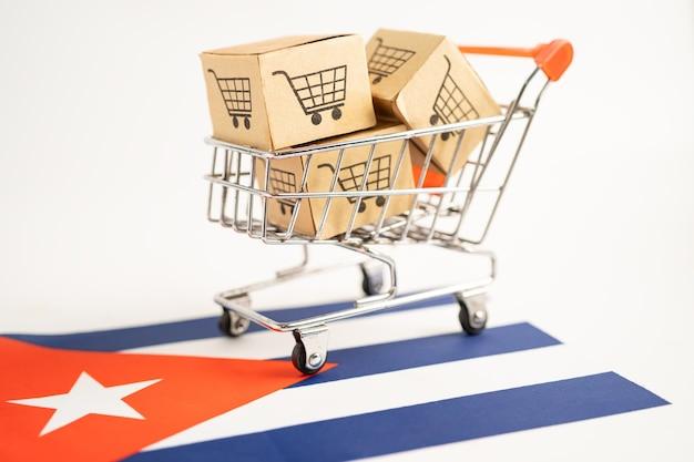 Caixa com logotipo do carrinho de compras e bandeira de cuba import export online