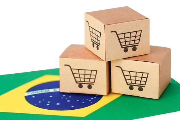 Caixa com logotipo do carrinho de compras e bandeira do brasil
