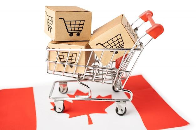 Caixa com logotipo do carrinho de compras e bandeira do canadá
