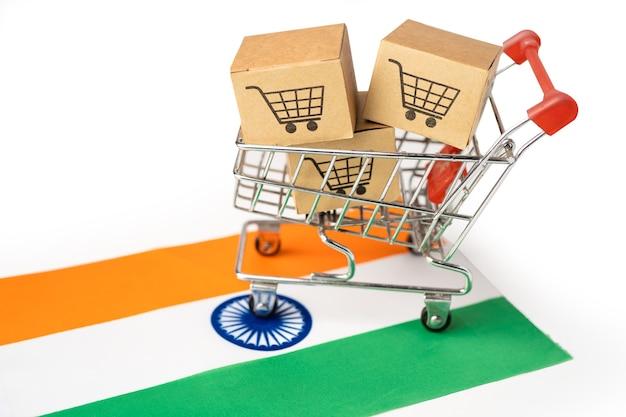 Caixa com o ícone do carrinho de compras e a bandeira da índia.