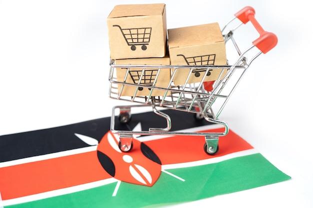 Caixa com o ícone do carrinho de compras e a bandeira do quênia, importação, exportação, compras on-line ou comércio eletrônico, entrega de produtos da loja de serviços de finanças, comércio, conceito de fornecedor.