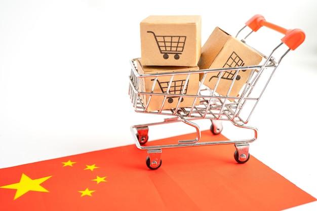 Caixa com o logotipo do carrinho de compras e a bandeira da china import export shopping online