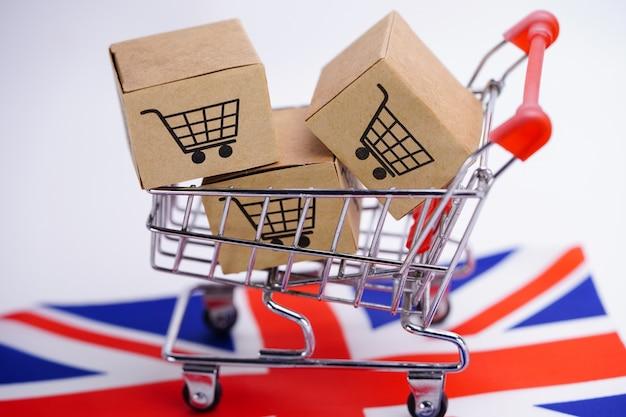 Caixa com o logotipo do carrinho de compras e a bandeira do reino unido.