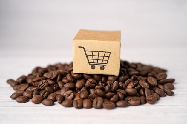 Caixa com o símbolo do logotipo do carrinho de compras em grãos de café, importação e exportação de compras on-line ou entrega de produtos de loja de serviço de entrega de comércio eletrônico, comércio, conceito de fornecedor.
