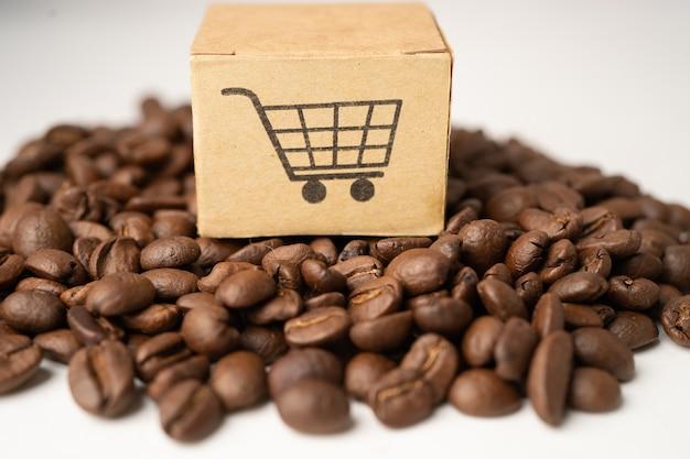 Caixa com o símbolo do logotipo do carrinho de compras em grãos de café, importação, exportação, compras on-line ou entrega de produtos de loja de serviço de entrega de comércio eletrônico, comércio, conceito de fornecedor.