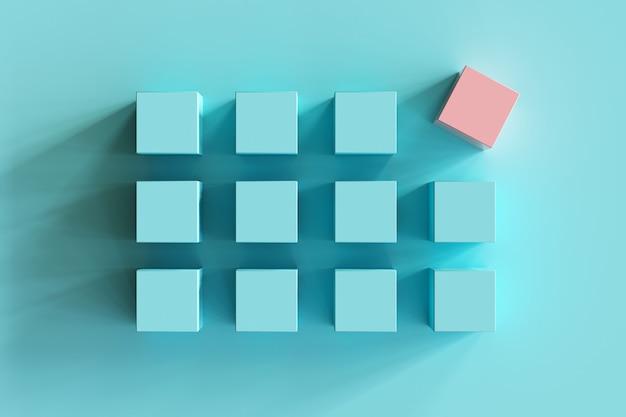 Caixa cor-de-rosa proeminente entre caixas azuis no fundo azul. mínimo apartamento deitado contept