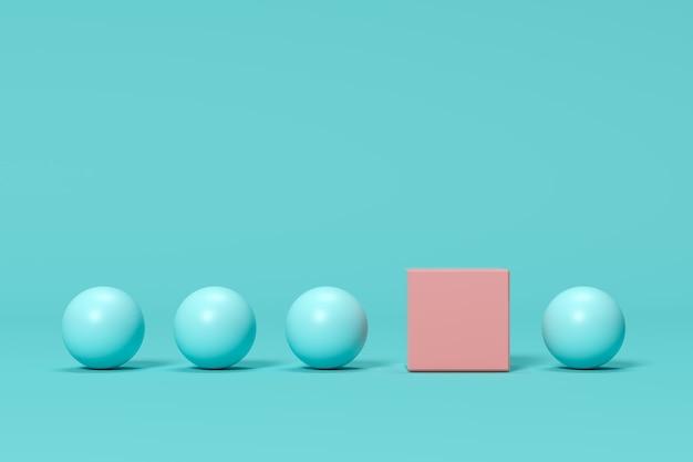 Caixa cor-de-rosa proeminente entre esferas azuis no fundo azul. idéia de conceito mínimo