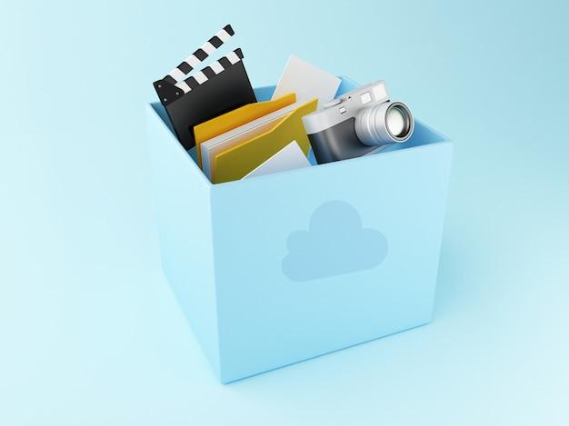 Caixa da nuvem 3d com arquivos. armazenamento na núvem