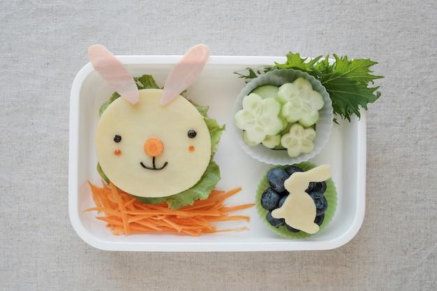 Caixa de almoço de coelhinho da páscoa, divertido arte de comida para crianças