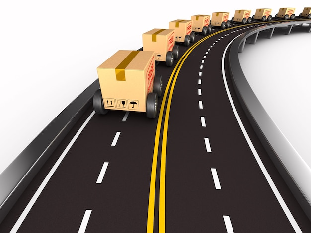 Caixa de carga com roda na estrada. espaço em branco. ilustração 3d isolada