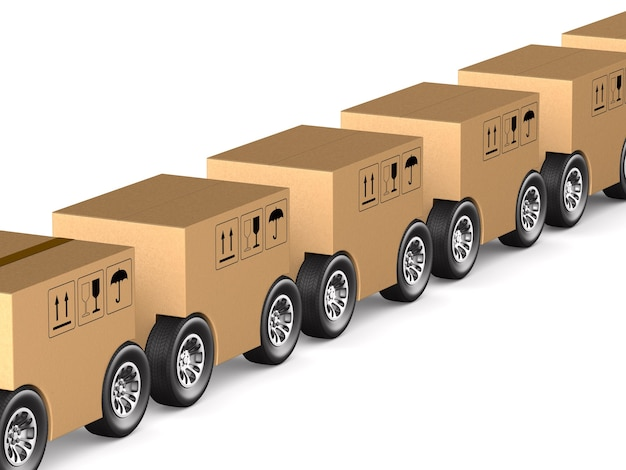 Caixa de carga com roda no espaço em branco. ilustração 3d isolada