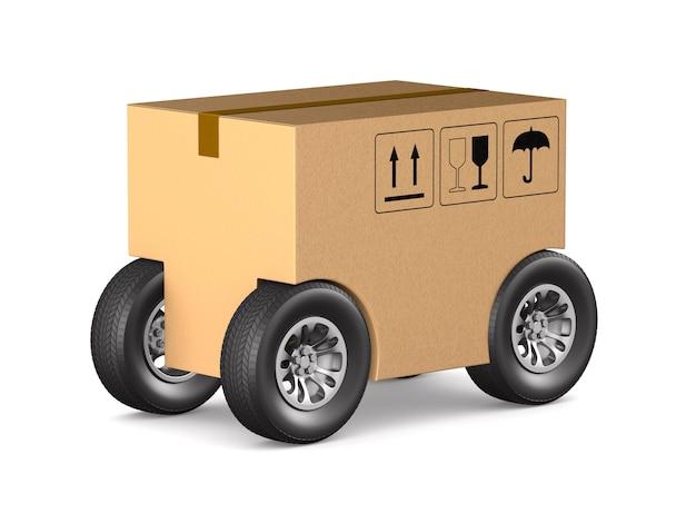 Caixa de carga com roda no espaço em branco