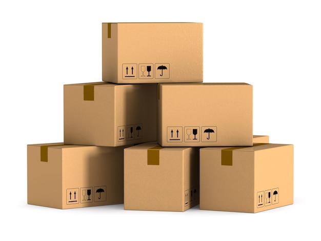 Caixa de carga em fundo branco. ilustração 3d isolada