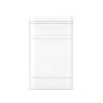 Caixa de chá de metal branco em estilo clay em um fundo branco. renderização 3d
