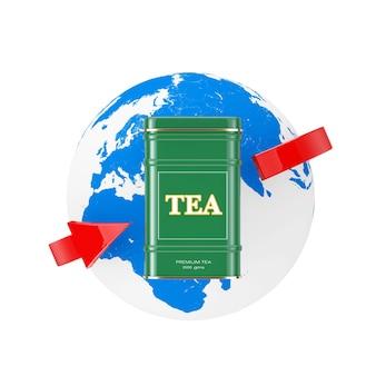 Caixa de chá verde de metal com globo terrestre e seta vermelha em um fundo branco. renderização 3d