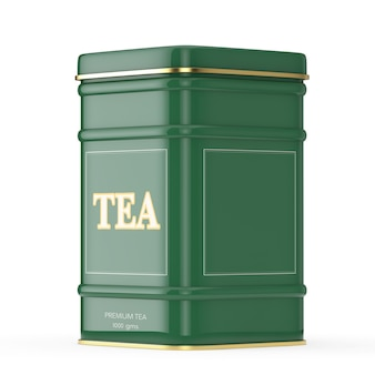 Caixa de chá verde de metal com listra dourada em um fundo branco. renderização 3d