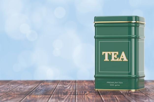 Caixa de chá verde de metal com listra dourada em uma mesa de madeira. renderização 3d