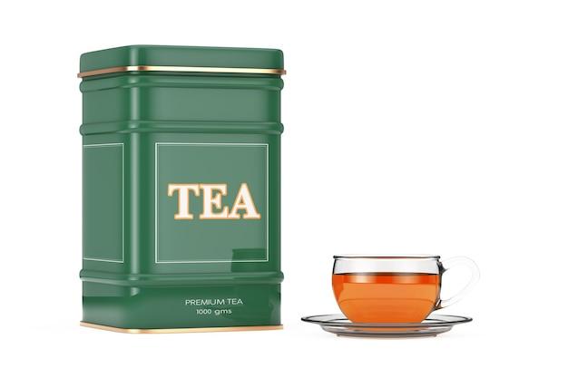 Caixa de chá verde de metal com uma xícara de chá em um fundo branco. renderização 3d