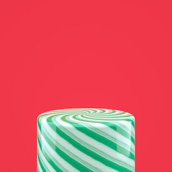 Caixa de cilindro de doces verde vazio para a exposição do produto. 3d fundo de natal.