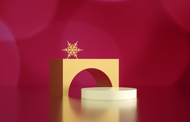 Caixa de cilindro vazio com bokeh de fundo. cena de exibição de produtos cosméticos de luxo. 3d rendem.