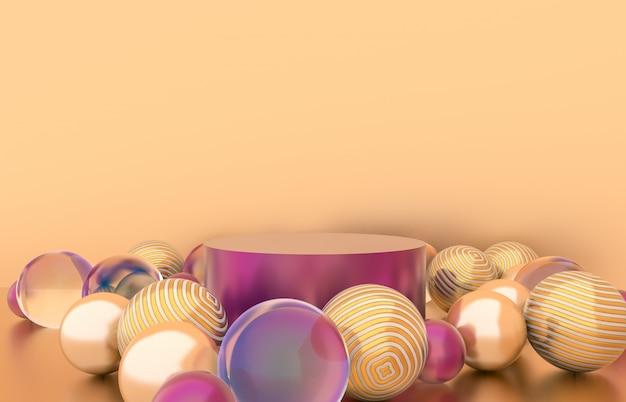 Caixa de cilindro vazio com fundo de bolas de natal. cena de exibição de produtos cosméticos de luxo. 3d rendem.