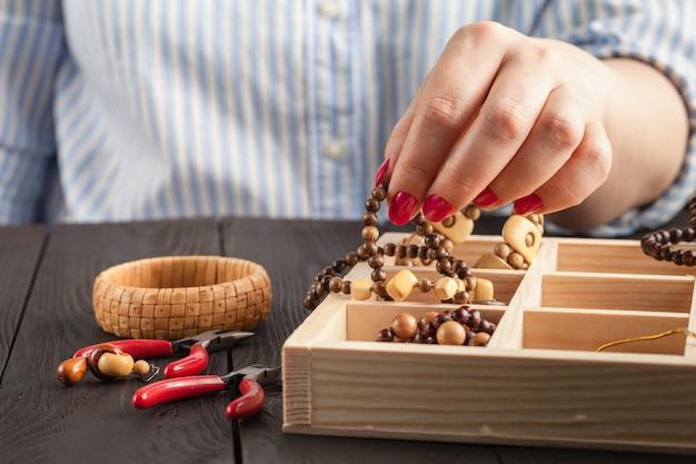 Caixa de contas de colar para jóias caseiras