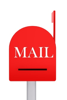 Caixa de correio vermelha fechada em fundo branco