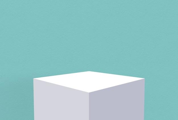 Caixa de cubo branco vazio com fundo azul da parede do cimento da safira.