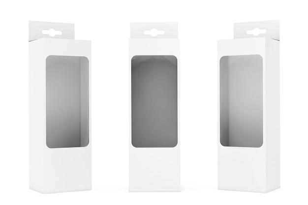 Caixa de embalagem de produto branca com ranhura para pendurar e janela de filme transparente em um fundo branco. renderização 3d.