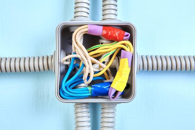 Caixa de extensão montada na superfície com fios com fita.