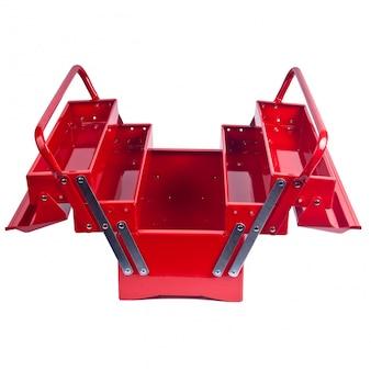 Caixa de ferramentas de metal vermelha isolada no branco