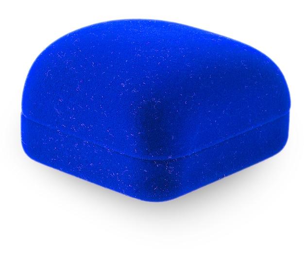 Caixa de joias azul para colocar brinco de anel ou outras coisas de valor nela, uma imagem isolada no branco