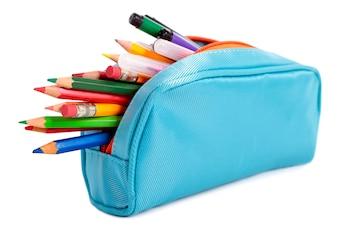 Caixa de lápis completamente dos lápis