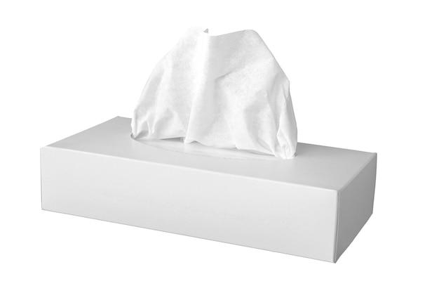 Caixa de lenços brancos. vista do topo. isolado no fundo branco com espaço de cópia.