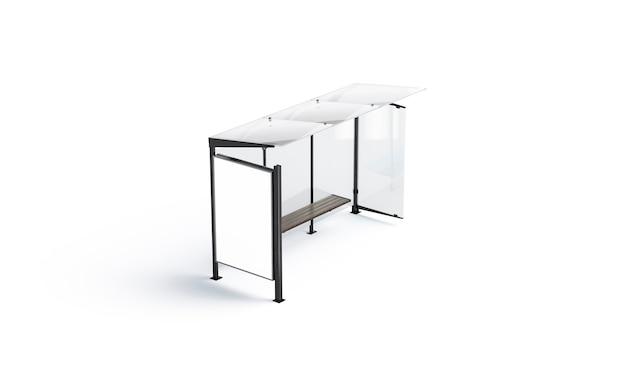 Caixa de luz branca em branco na maquete do ponto de ônibus. ponto de ônibus vazio ao ar livre com visor e simulação de telhado de vidro