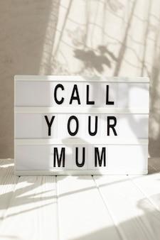 Caixa de luz com mensagem para o dia das mães