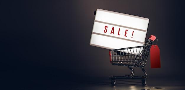 Caixa de luz de venda no carrinho de compras com etiqueta de preço