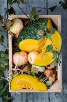 Caixa de madeira com abóbora e maçãs frescas
