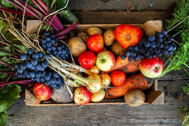 Caixa de madeira com legumes frescos e frutas, close-up, legumes orgânicos. o conceito de um jardim, casa de campo, colheita.