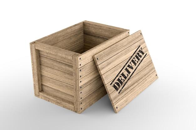 Caixa de madeira com texto de entrega impresso em fundo branco. renderização 3d