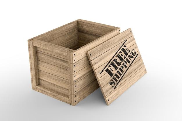 Caixa de madeira com texto de frete grátis impresso em fundo branco. renderização 3d