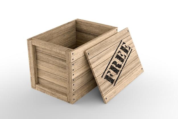 Caixa de madeira com texto livre impresso em fundo branco. renderização 3d