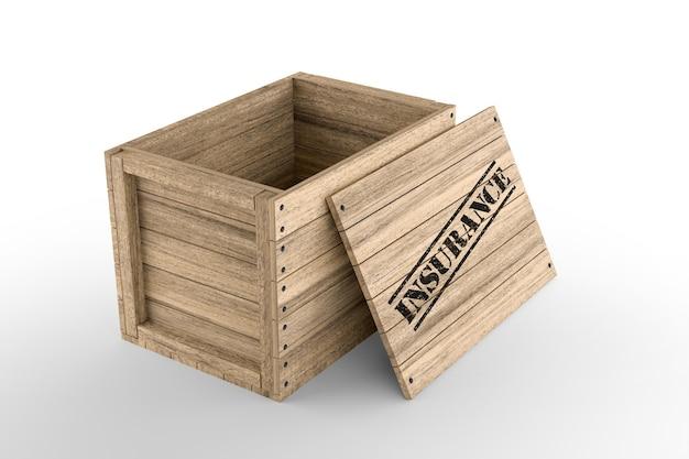 Caixa de madeira com texto seguro impresso em fundo branco. renderização 3d