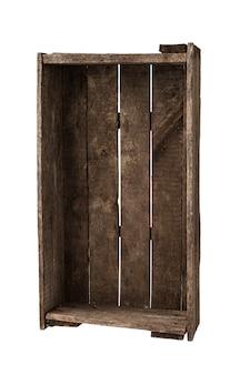 Caixa de madeira isolada no branco