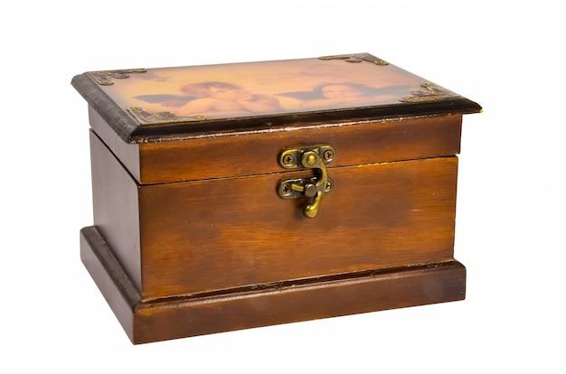 Caixa de madeira marrom bonita com dois anjos